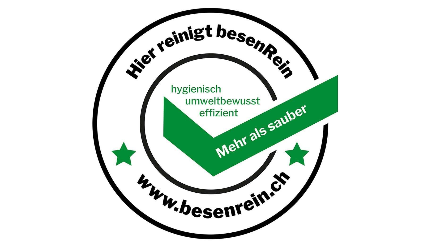 """Hygienische Sauberkeit und Sicherheit in Haushalt, Praxis, Restaurant und Hotel mit dem Qualitätssiegel """"geprüft von besenRein""""."""